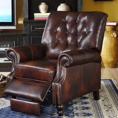 Add a stately and unique piece of furniture to your home with the gorgeous Philip tufted leather cowhide reclining armchair. This beautiful recliner features a stylish nailhead trim and sturdy, ornate legs. Brown Leather Recliner, Leather Recliner Chair, Leather Chairs, Tufted Armchair, Recliner Chairs, Leather Sofas, Leather Fabric, Lounge Furniture, New Furniture