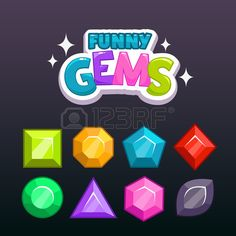 Funny cartoon colorful gems for game design vector game assets set Stock Vector
