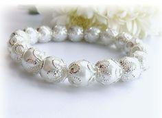 White Bracelet   Pearl Bracelet Bangle by CraftsbySigita on Etsy,