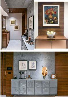 A vaulted veneer wrapped door acts as an entryway to the bedrooms. The grey console with abstract engraved panels in concrete grey finish wrap upto the ceiling, Beautiful Interior Design, Best Interior Design, Interior Decorating, Built In Furniture, Simple Furniture, Hallway Shoe Storage, Arabic Decor, Large Bookshelves, Indian Interiors