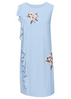 Elegancka sukienka z pięknym kwiatowym haftem i falbaną z boku. Okrągły dekolt. Bez rękawów. Dł. w rozm. 38 ok. 90 cm.