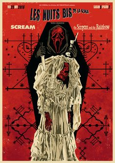 """Double Feature movie poster of """"Scream"""" & """"The serpent and the Rainbow"""" by GengisKahn Artwork©."""