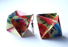 Folk Origami Earrings Dangle Earrings Modern by MAGcraftsy on Etsy, $15.99