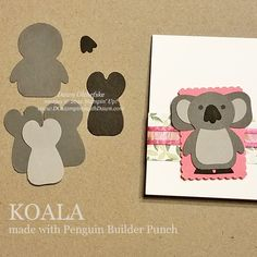 Wood Patterns, Punch Art, Card Templates, Note Cards, Stampin Up, Christmas Cards, Projects To Try, Cute Animals, Paper Crafts