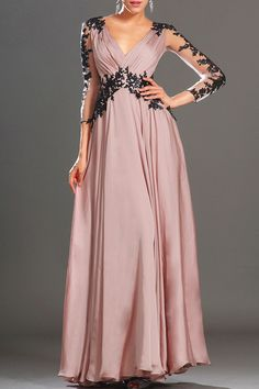 Lace prom dress chiffon formal evening dress/sweetheart and deep v back long prom dress/bridesmaid dress/graduation dress/home coming dress Evening Gowns With Sleeves, Formal Evening Dresses, Elegant Dresses, Formal Prom, Amazing Dresses, Formal Gowns, V Neck Prom Dresses, Prom Dresses Online, Bridesmaid Dresses
