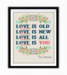 Buy 2 get 1 free. The Beatles Quote Cross Stitch Pattern. (#P- 0027). Modern Cross Stitch. INSTANT DOWNLOAD.  ********** BUY 2 GET 1 FREE (of equal or lesser value) **********  **** Free selection is not included with instant download, it is sent manually. **** Free selection is NOT to be purchased, only noted.  (Add 2 patterns to your cart and write to me # from the title of 3 pattern into the Note to GlazovPattern box upon checkout. The 3 pattern Ill send to your email during 24 hours…