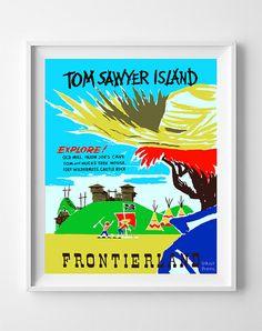 Vintage Disneyland Poster Print Tom Sawyer Island by InkistPrints