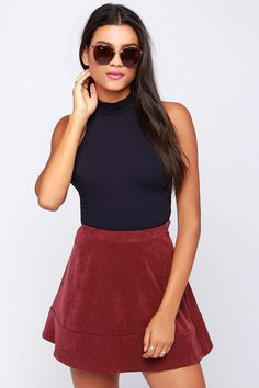 That Bass Navy Blue Crop Top at Lulus.com!    I LOVE LOVE LOVE THIS WHOLE OUTFIT A WHOLE LOT!  I THINK IT NEEDS A THICK STRETHY BELT THAT POPS COLOR THOUGH.... MAYBE A BLUE-ISH TEAL??? OR ORANGE? YELLOW?? AND MAYBE THEY WEAR YELLOW KEDS? (SEE INSPIRATION PAGE AT THE END TO SEE YELLOW KEDS)