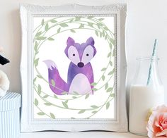 PRINTABLE nursery art purple fox printable art kids by luxeprairie
