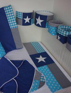 Turquoise, grijs, kobaltblauw babykamer set
