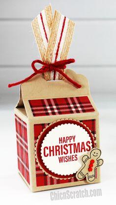 Scallop Top Christmas Box - Chic n Scratch Happy Christmas Wishes, Christmas Paper Crafts, Christmas Gift Bags, Christmas Bags, Handmade Christmas, Diy Gift Box, Gift Boxes, Adornos Halloween, Milk Box