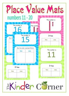 Place Value Mats for 11 - 20 free from The Curriculum Corner