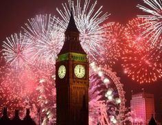 Big Ben, London New Year 2015 fireworks