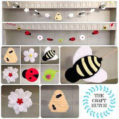 Bee bunting ladybird bunting insect bunting bee by TheCraftHutch