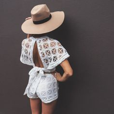 Jumpsuit: matching set, short, crop tops, white, white jumpsuit, jacket, high waisted, crochet, brown hat, hat, top, romper, open back, white romper, sheer, pattern, blouse, cape, fedora, ribbon, t-shirt, backless top, embroidered, romper, shorts, sparkle, classy, beach, shear, chiffon blouse, matching shorts and top, lace playsuit, cool girl style, two-piece - Wheretoget