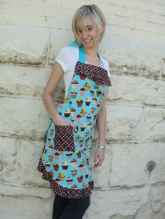 Cupcake apron in aqua & browns.  Ruffle at top bib and around skirt. www.etsy.com/shop/overthetopaprons