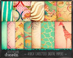 Am loving the colors of the giraffe - from Etsy artist, Africa Digital papers.