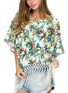 the blouse is made from chiffon with floral graphic, round neck, batwing sleeve, with tasseled.