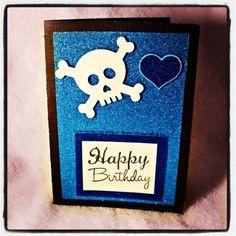 Skull and Crossbones Birthday Card by GlitterBlondie on Etsy, $4.50