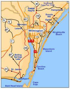 Wilmington Beach, Wilmington North Carolina, North Carolina Homes, East Coast Map, Puerto Rico, James Beach, Nc Map, Bald Head Island, Wrightsville Beach