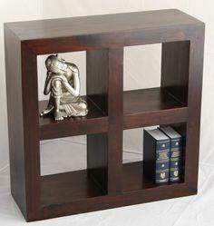 Homescapes Dakota 4 Hole Display Cube Dark Shade : Bedroom Furniture