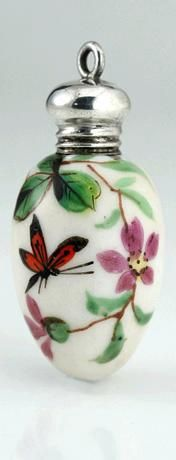 Antique Victorian Floral & Butterfly Enameled Porcelain Egg Shape Scent Perfume Bottle With Silver Top