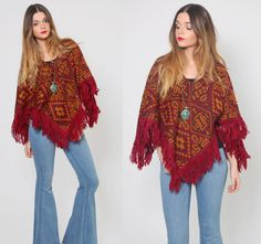 Vintage 70s TRIBAL Poncho Southwestern Knit Hippie Sweater by LotusvintageNY