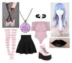 """pastel goth"" by keyatsu ❤ liked on Polyvore featuring Boohoo, WithChic, Demonia, Miss Selfridge and Cotton Candy"