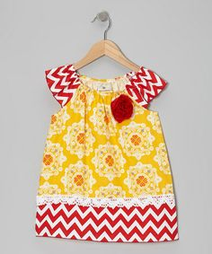 Take a look at this Yellow & Red Senorita Angel-Sleeve Dress - Toddler & Girls by Million Polkadots on #zulily today!