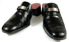 Lauren Ralph Lauren Mule Loafers Solid Black Leather Slide On Shoes Womens 9.5 B #LaurenRalphLauren #Mules