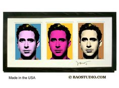 3x Ryan Gosling  Framed Pop Art by JBAO signed dated by PineShore
