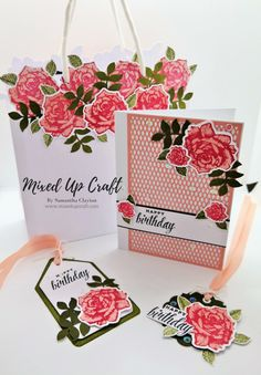 Beautiful Floral Gift Bag with Matching Card & Gift Tag Homemade Gifts, Diy Gifts, Birthday Bag, Happy Birthday, Craftwork Cards, Handmade Gift Tags, Matching Cards, Pop Up Cards, Craft Tutorials
