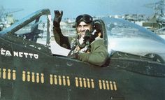 1st Brazilian fighter pilot Lieutenant Corrêa Netto waves from his P-47  cockpit Força Expedicionária c310e89544
