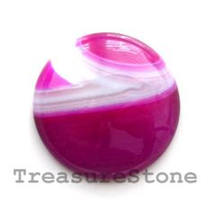 Cabochon, agate (dyed), 30mm round. TreasureStone Beads Edmonton