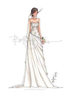 Custom bridal illustration   weddings   Brittany Fuson   fashion illustration