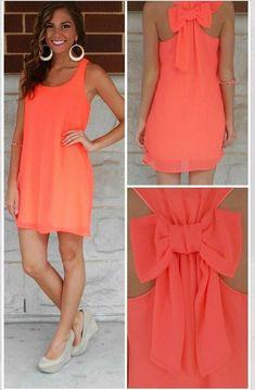 Nacarat Plain Bow Irregular U-neck Sleeveless Chiffon Dress - Mini Dresses - Dresses #summerdresses