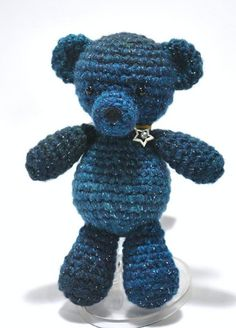 10 FREE Teddy Bear #Crochet Patterns: Blue Teddy Bear Free Crochet Pattern by Crafy Hanako