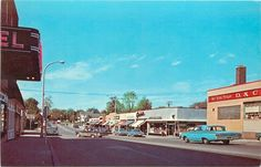 Plymouth Michigan~5c&$1 Store~Barber Pole~Theater? Main St 1960s Cars