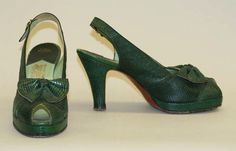 There was a heavy vogue for green shoes in the last few years of the 1940s. This pair was made in snakeskin by Dominick LaValle, 1947.