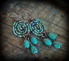 Glass Seed Beads and Turquoise Drop Beaded Earrings by yuccabloom, #wirework