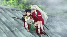Episode 6 dialogue: Inuyasha [to Kagome, angry at her for saying she believes in him] - You are nuts! This sword is good for nothing! Me, I'll live, I'm half demon. You though, you ain't got a chance. / Kagome - So I should just, give up hope? [starts to cry] / Inuyasha - What... what are you doing? [becomes upset when he sees Kagome crying] Are you crying? No crying! / Kagome [getting angry] - Oh, should I laugh? / Inuyasha - No! You should shut up and let me protect you!