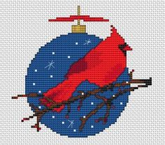 Red Cardinal cross stitch pattern
