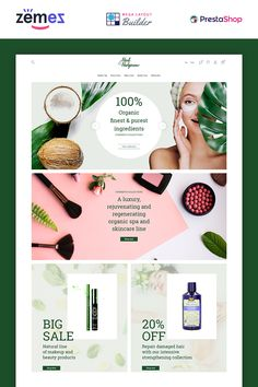 Herb and Hedgerow - Organic Cosmetics Store Bootstrap Clean Ecommerce PrestaShop Themes Cosmetic Web, Cosmetic Design, Web Design Software, Ecommerce Website Design, Eco Store, Store Ads, Fashion Banner, Makeup Store, Store Design