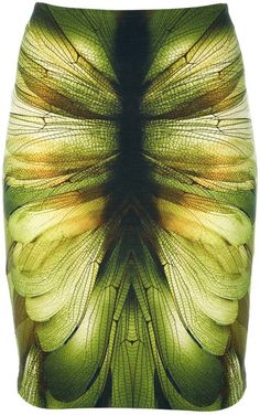 Now that's a print! Mcq By Alexander Mcqueen Wing Printed Jersey Skirt in Green - Lyst