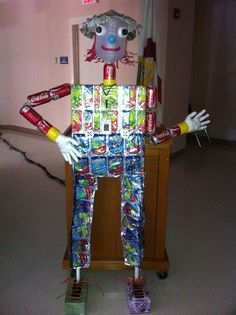 The teachers at school had a contest to create scarecrows in their teams.. our scarecrow is Recycled Roy. Everything we used to make him was recycled.