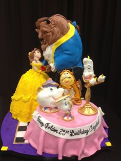 "Beauty and the beast cake. 20"" tall 3 separate cakes with fondant figures"