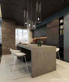 Дизайн шикарных современных пространств с кирпичными стенами