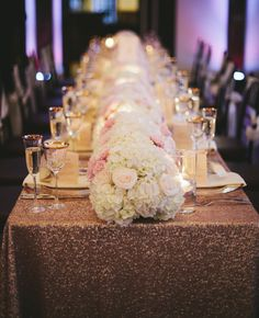 glitter reception table runner | Lime Green Photography | blog.theknot.com