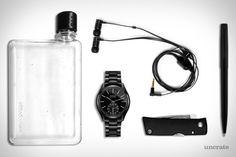 Rado Hyperchrome Duel Timer Watch ($2,800). Memobottle A6 Water Bottle ($22). Master & Dynamic Headphones ($130). Fällkniven U4 Knife ($125). Fisher 400B Space Bullet Pen ($13). Presented by Rado....