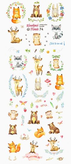 How adorable are these? The perfect woodland animal friends for DIY invitations, kids projects, art and more. (watercolor bundle illustrations) animals silly animals animal mashups animal printables majestic animals animals and pets funny hilarious animal Art And Illustration, Illustrations, Woodland Illustration, Friends Illustration, Woodland Creatures, Woodland Animals, Forest Animals, Woodland Forest, Watercolor Animals